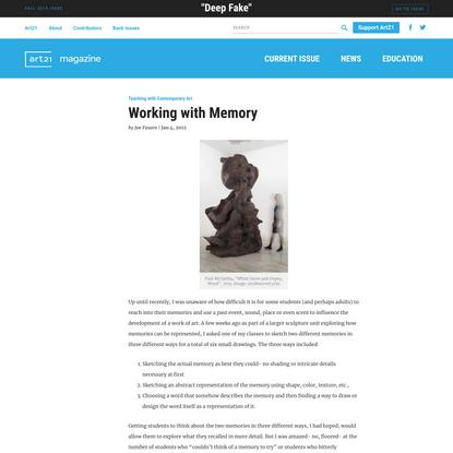 Working with Memory   Art21 Magazine