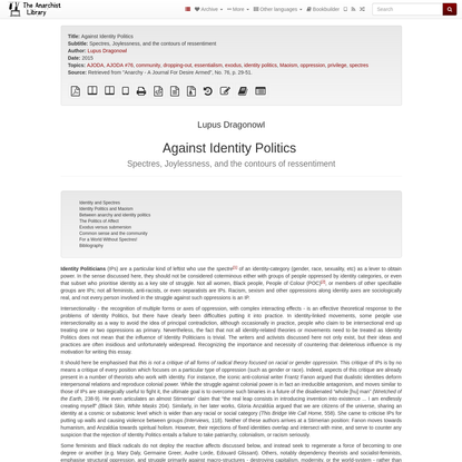 Against Identity Politics   The Anarchist Library