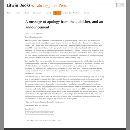 A message of apology from the publisher, and an announcement | Litwin Books & Library Juice Press