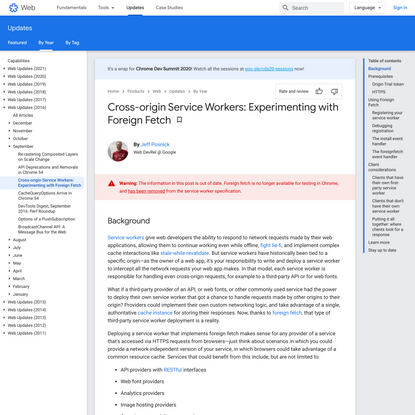 Cross-origin Service Workers: Experimenting with Foreign Fetch | Web