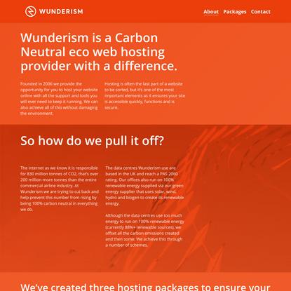 Wunderism - Eco-Friendly UK Based Website and Wordpress Hosting