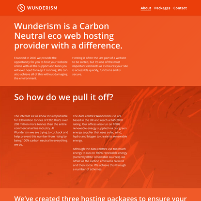 Wunderism - Eco-Friendly UK Based Website and Wordpress Hosting