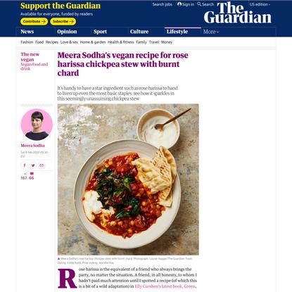 Meera Sodha's vegan recipe for rose harissa chickpea stew with burnt chard   The new vegan