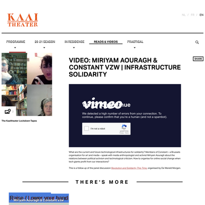 VIDEO: Miriyam Aouragh & Constant vzw | Infrastructure solidarity