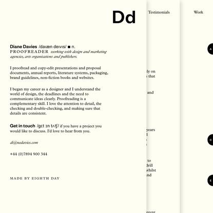 Diane Davies (designed by Eighth Day studio)