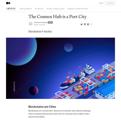 The Cosmos Hub is a Port City