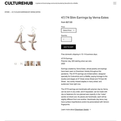 CULTUREHUB — 47/74 Slim Earrings by Verna Estes
