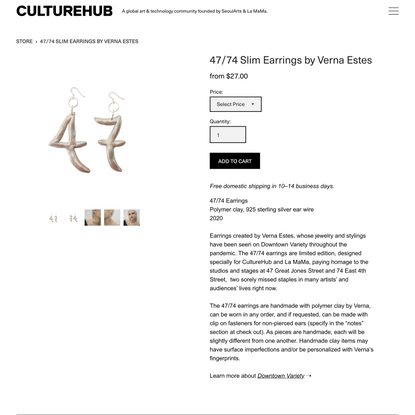 CULTUREHUB — 47/74 Slim Earrings by Verna Estes