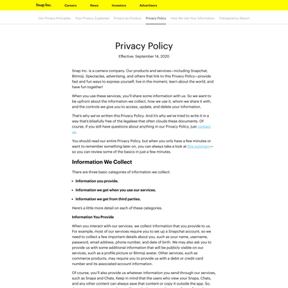 Privacy Policy - Snap Inc.
