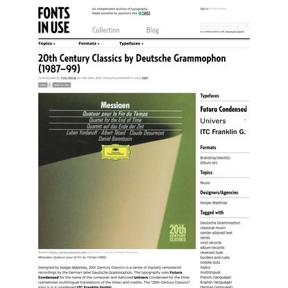 20th Century Classics by Deutsche Grammophon (1987–99)