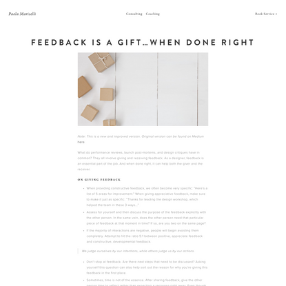 Feedback is a Gift…When Done Right — Paola Mariselli