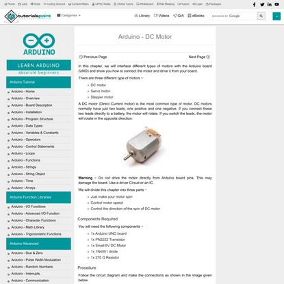 Arduino - DC Motor - Tutorialspoint