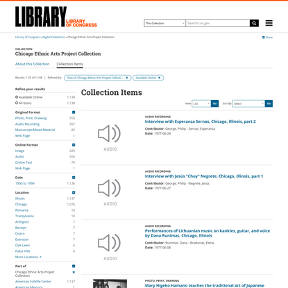 Search results from Chicago Ethnic Arts Project Collection, Available Online