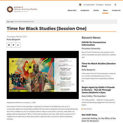 Time for Black Studies [Session One]