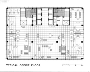 Typical Floorplan, Mansion House Square (unrealized project) by Mies van der Rohe
