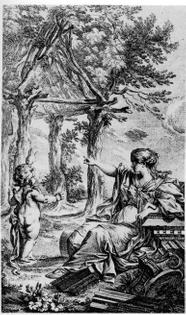 """Vitruvian Primitive Hut, frontispiece of """"Essai sur l'Architecture"""" by Marc-Antoine Laugier (1755)"""