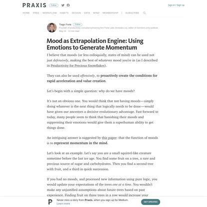 Mood as Extrapolation Engine: Using Emotions to Generate Momentum