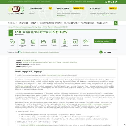 FAIR for Research Software (FAIR4RS) WG