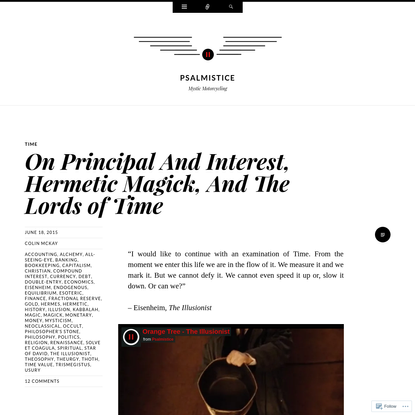 On Principal And Interest, Hermetic Magick, And The Lords of Time