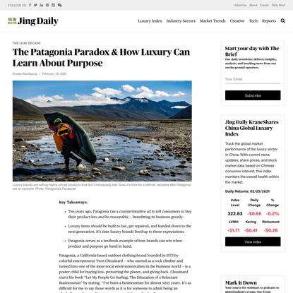 The Patagonia Paradox & How Luxury Can Learn About Purpose | Jing Daily
