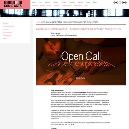 Open Call: Underexposed – Mentorship Programme for Young Artists