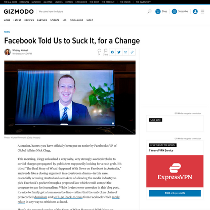 Facebook Told Us to Suck It, for a Change