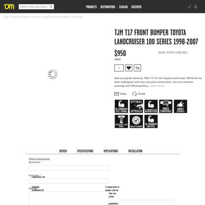 TJM T17 FRONT BUMPER TOYOTA LANDCRUISER 100 SERIES 1998-2007