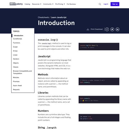 Learn JavaScript: Introduction Cheatsheet | Codecademy