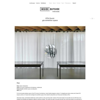 ETH Zurich<br>gta exhibition space - Inside Outside