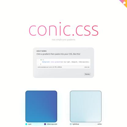 Conic.css - nice, simple conic gradients