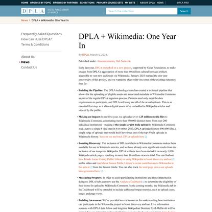 DPLA + Wikimedia: One Year In | DPLA