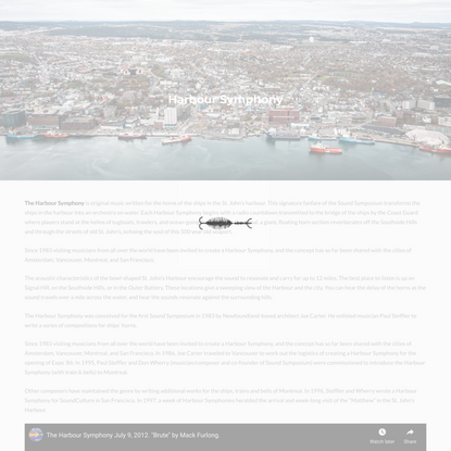 Harbour Symphony | Sound Symposium | A celebration of sound in St. Johns, Newfoundland
