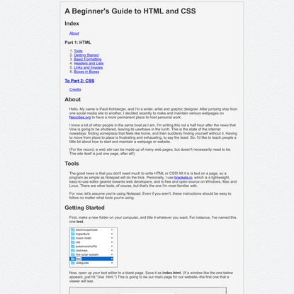 A Beginner's Guide to HTML and CSS