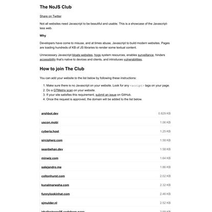 The NoJS Club!