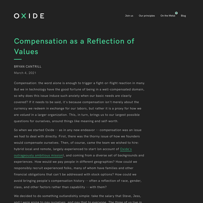 Oxide Computer Company: Compensation as a Reflection of Values