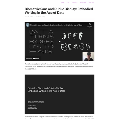 Biometric Sans and Public Display: Embodied Writing in the Age of Data