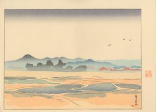 SAKAMOTO Hanjirō (坂本 繁二郎 Japanese, 1882-1969)  from the series Five Scenes of Tsukushi  1918  Color Woodblock Print