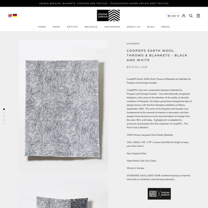 CoopDPS Earth Wool Throws & Blankets - Black and White – ZigZagZurich