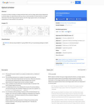 US20060050986A1 - Optical correlator - Google Patents