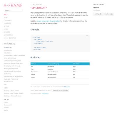 <a-cursor> – A-Frame