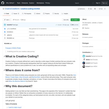 CreativeCodeBerlin/creative-coding-minilist