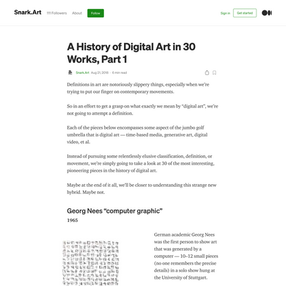 A History of Digital Art in 30 Works, Part 1