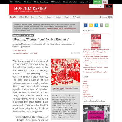 """Monthly Review   Liberating Women from """"Political Economy"""""""
