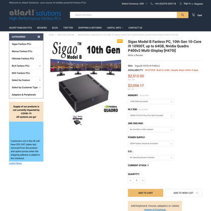 Sigao Model B Fanless PC, 10th Gen 10-Core i9 10900T, up to 64GB, Nvidia Quadro P400v2 Multi-Display [H470i]