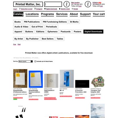 Digital Downloads - Printed Matter
