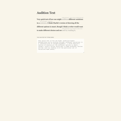 Audition Text demo