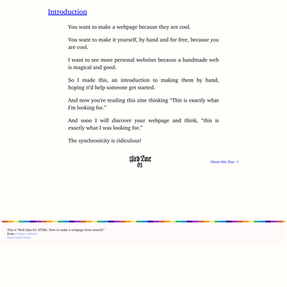 Web Zine 01: HTML: How to make a webpage from scratch!