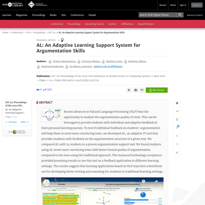 AL: An Adaptive Learning Support System for Argumentation Skills | Proceedings of the 2020 CHI Conference on Human Factors i...