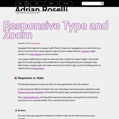 Responsive Type and Zoom | Adrian Roselli