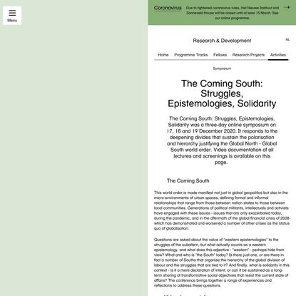 The Coming South: Struggles, Epistemologies, Solidarity
